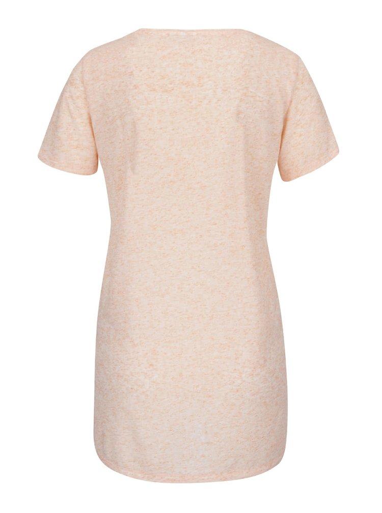 Světle oranžové žíhané tričko s potiskem VERO MODA Charlotte