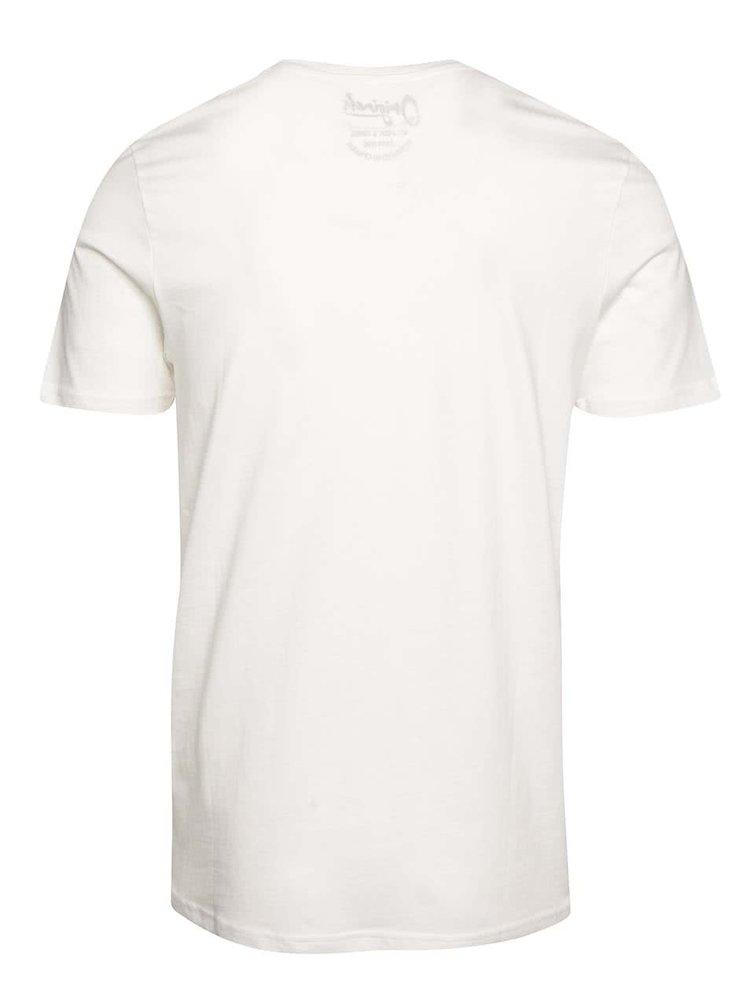 Krémové tričko s potlačou vo vrecku Jack & Jones Pocket
