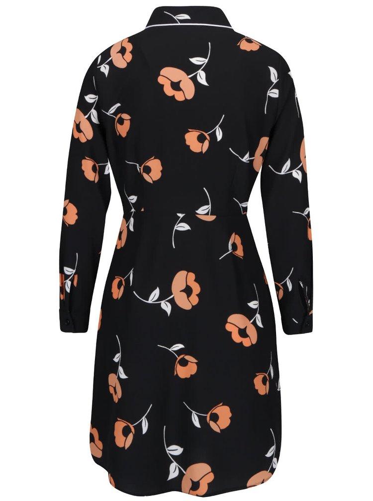 Čierna kvetovaná košeľa so zapínaním Dorothy Perkins Petite