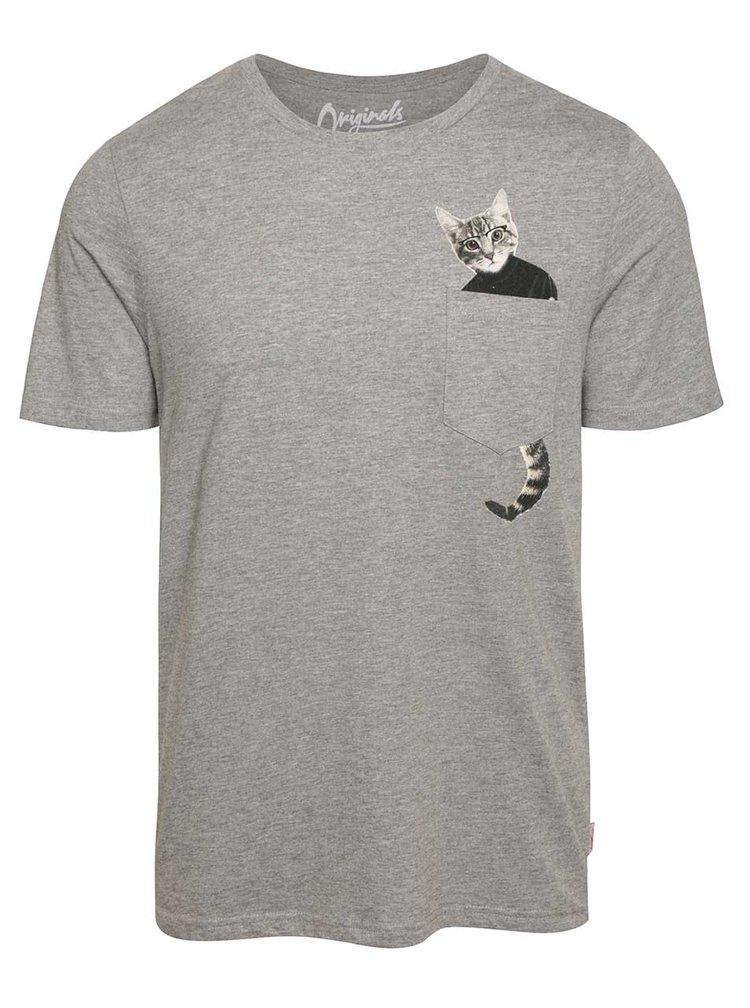 Sivé tričko s potlačou vo vrecku Jack & Jones Pocket