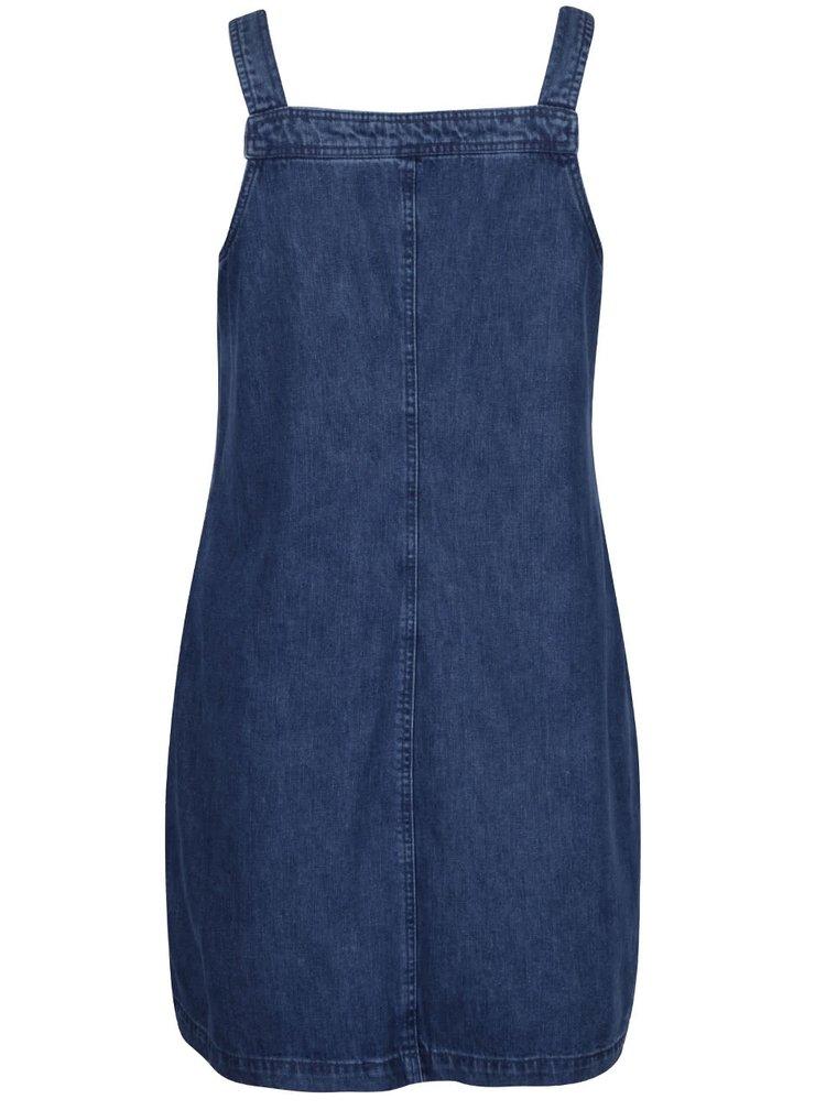 Modré rifľové šaty na traky s vreckami Dorothy Perkins Curve