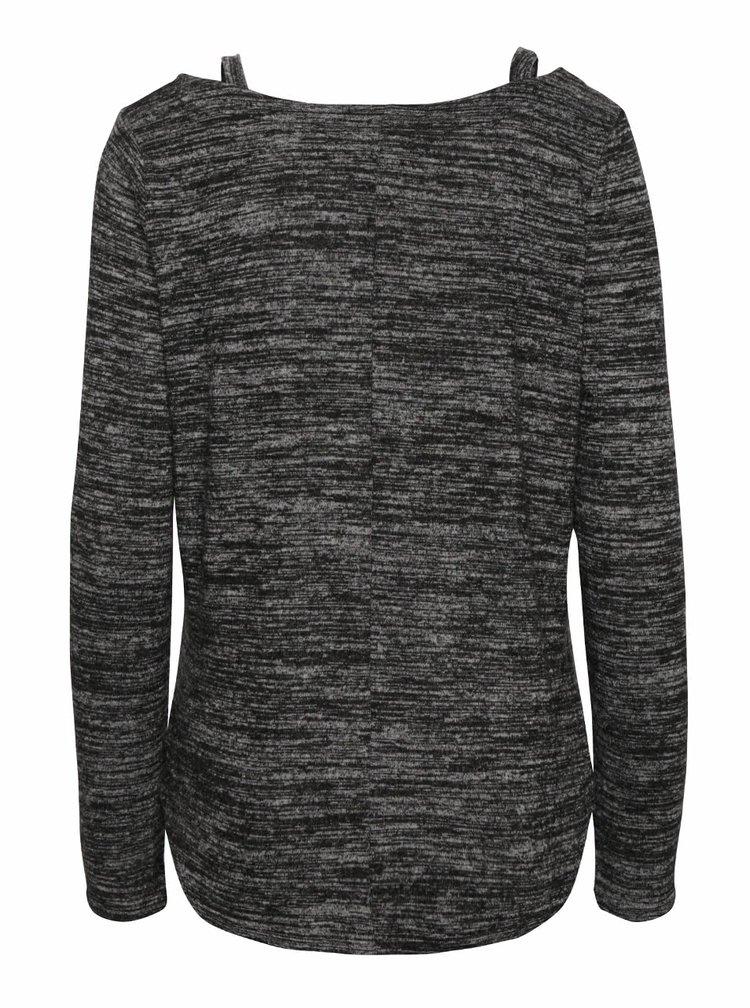 Tmavosivé voľnejšie melírované tričko s dlhým rukávom TALLY WEiJL