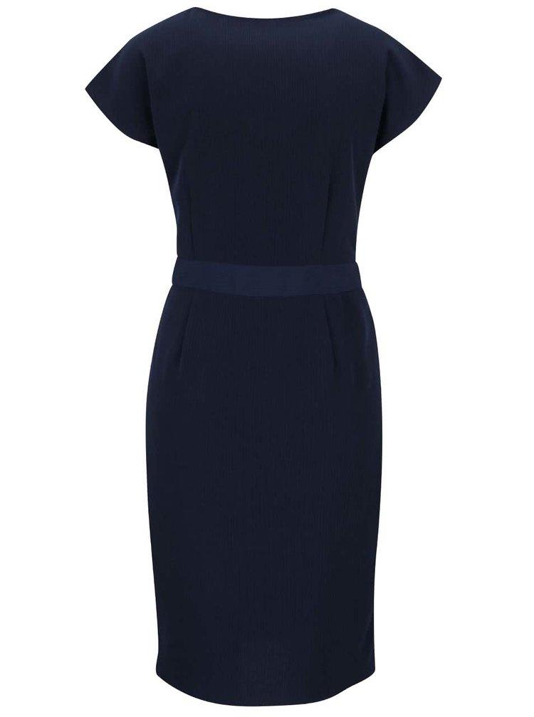 Tmavě modré  šaty s překládaným výstřihem a sukní VERO MODA Moline