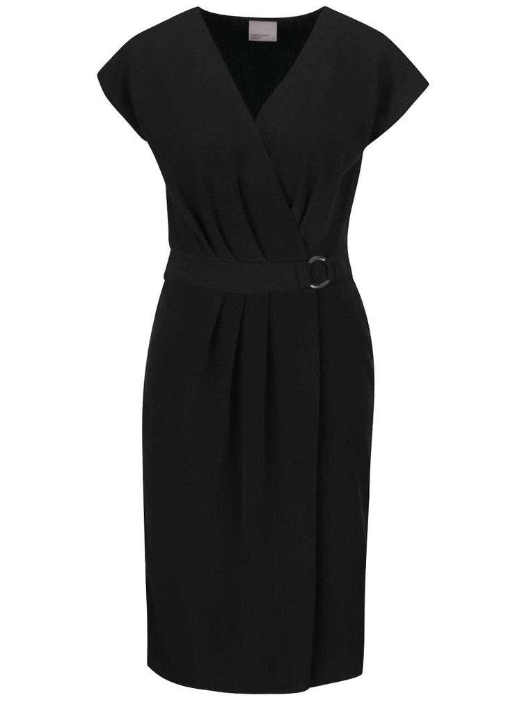 Černé šaty s překládaným výstřihem a sukní VERO MODA Moline