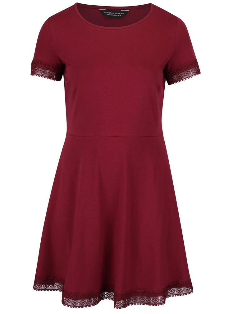 Vínové šaty s krajkovým lemem Dorothy Perkins Curve