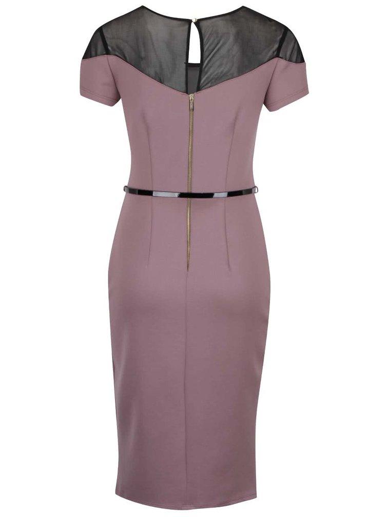 Fialové šaty s čiernym úzkym opaskom Dorothy Perkins