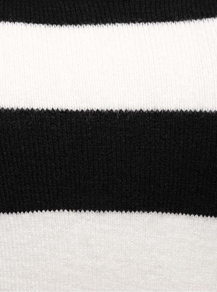 Čierno-biely pruhovaný sveter s priestrihom v dekolte TALLY VEiJL