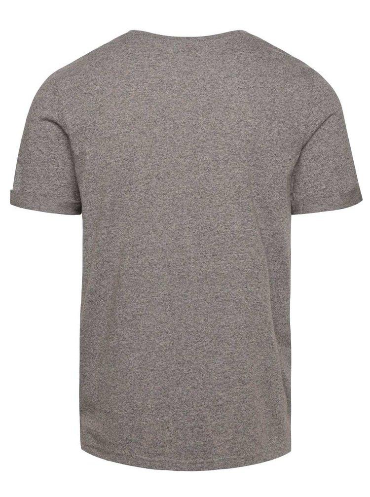 Sivé žíhané tričko s potlačou Jack & Jones Grindle