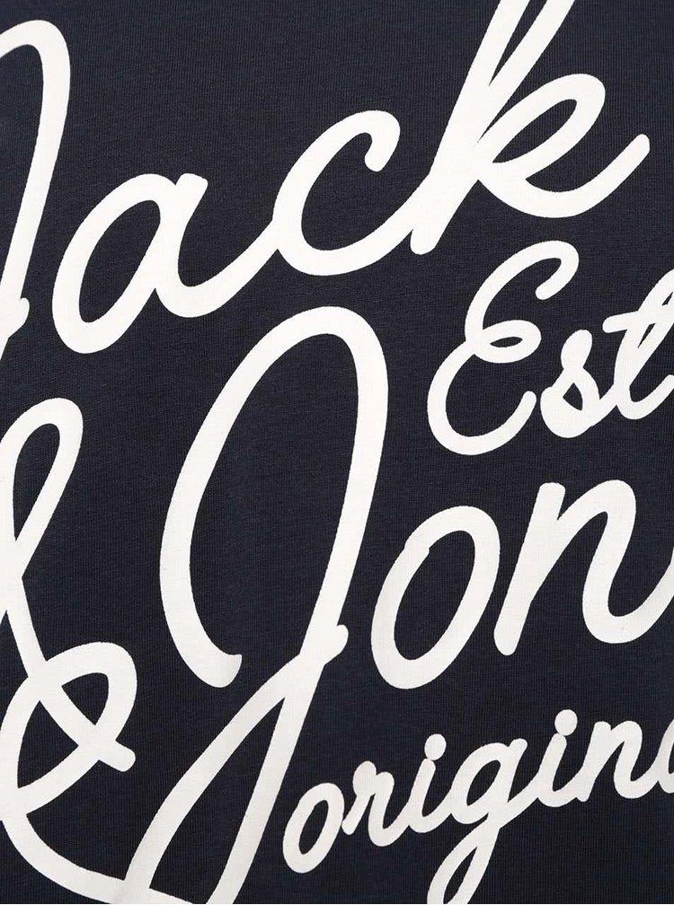Tmavomodré tričko s potlačou Jack & Jones Grindle
