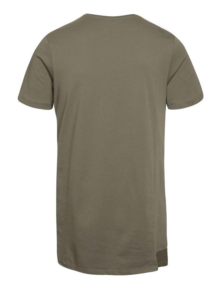 Olivově zelené triko s asymetrickým spodním lemem Jack & Jones Creed