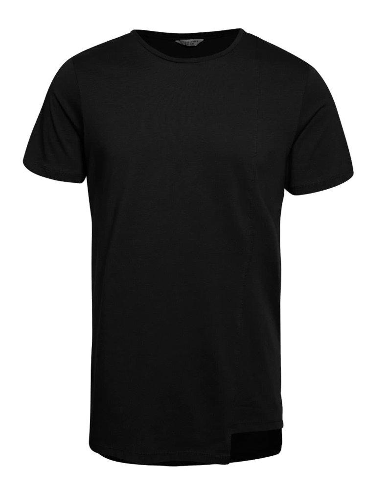 Černé triko s asymetrickým spodním lemem Jack & Jones Creed