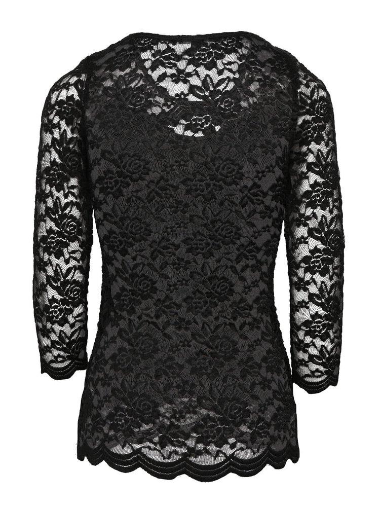 Čierne čipkované tričko s 3/4 rukávom TALLY WEiJL