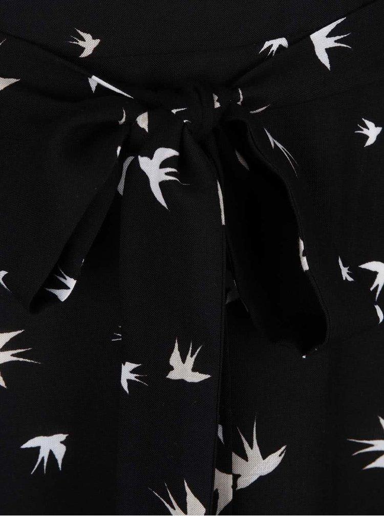 Krémovo-čierne šaty s motívom lastovičiek Dorothy Perkins