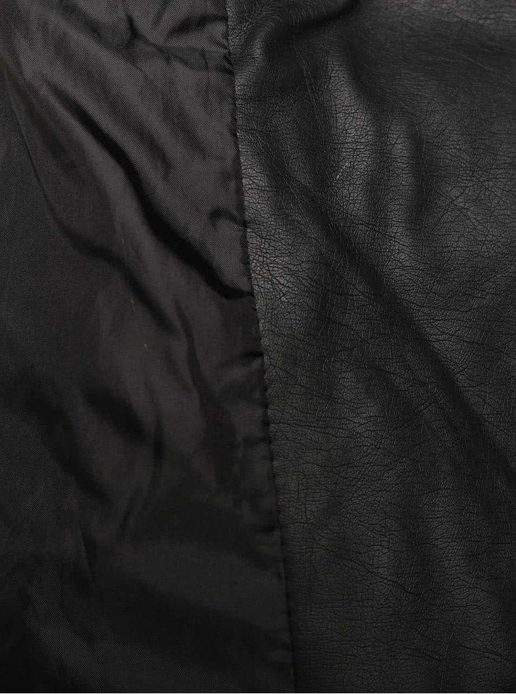 Černý koženkový křivák s odepínatelnou kapucí Tally Weijl