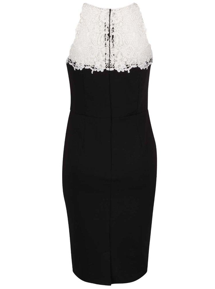 Černé mini šaty s krajkovým dekoltem Dorothy Perkins