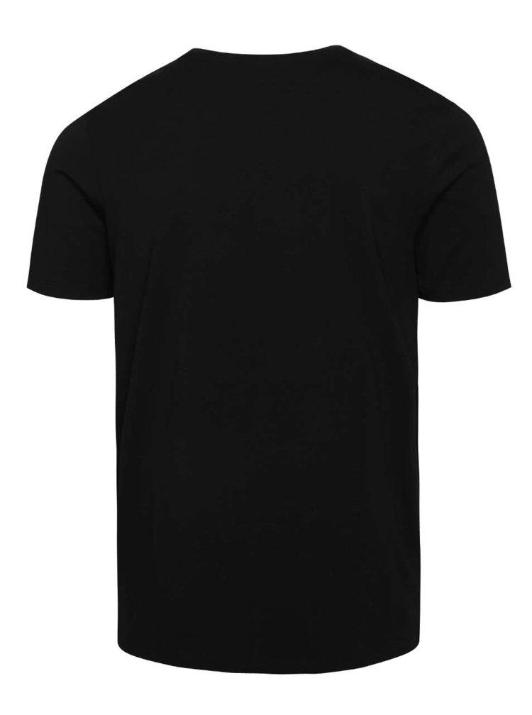 Černé basic tričko s krátkým rukávem Jack & Jones Pima