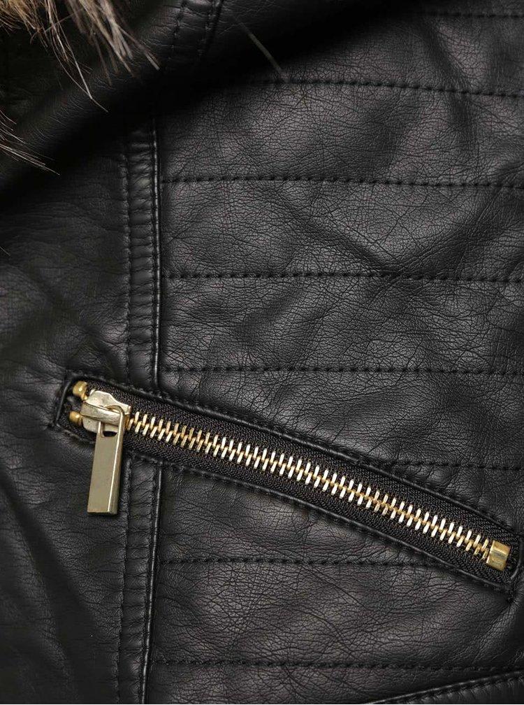 Jachetă neagră TALLY WEiJL cu blană sintetică