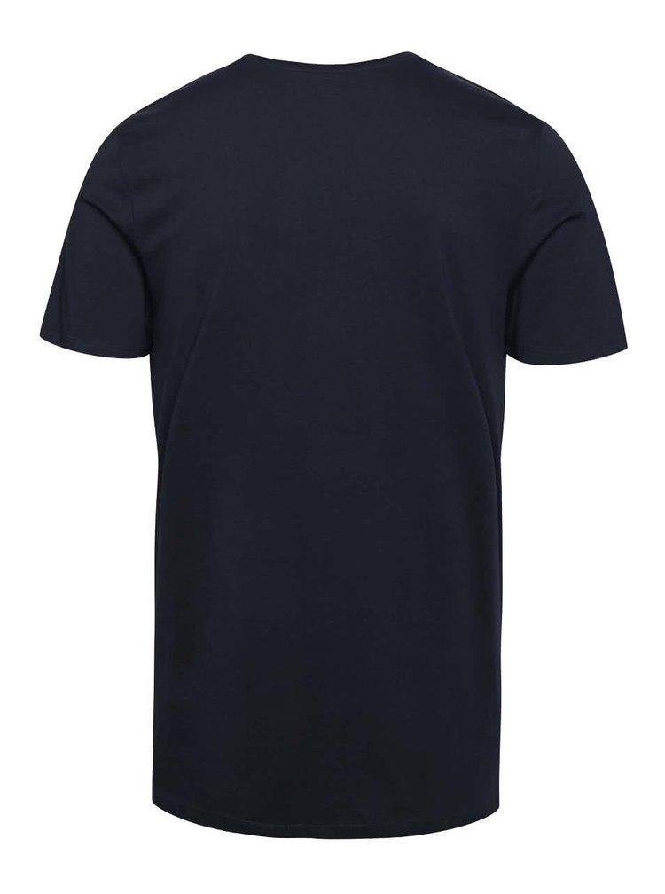 Tmavomodré tričko s potlačou Jack & Jones Zen