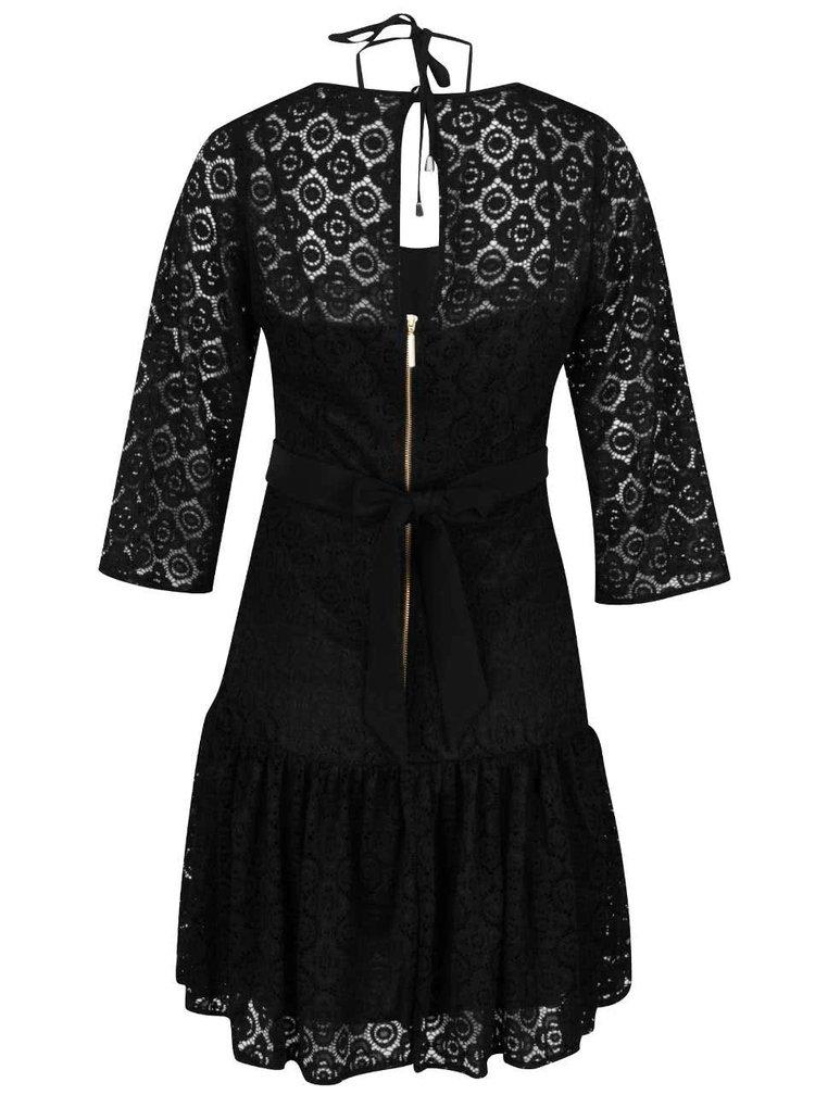 Černé krajkové šaty s 3/4 rukávy Closet