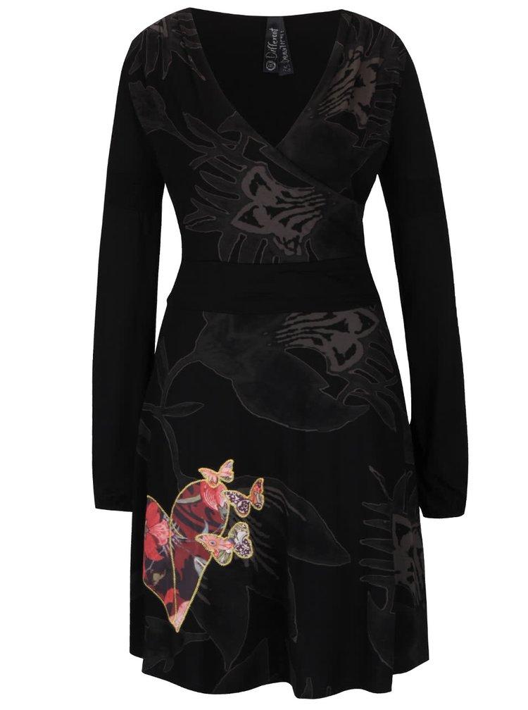 Černé šaty s překládaným výstřihem Desigual Kara