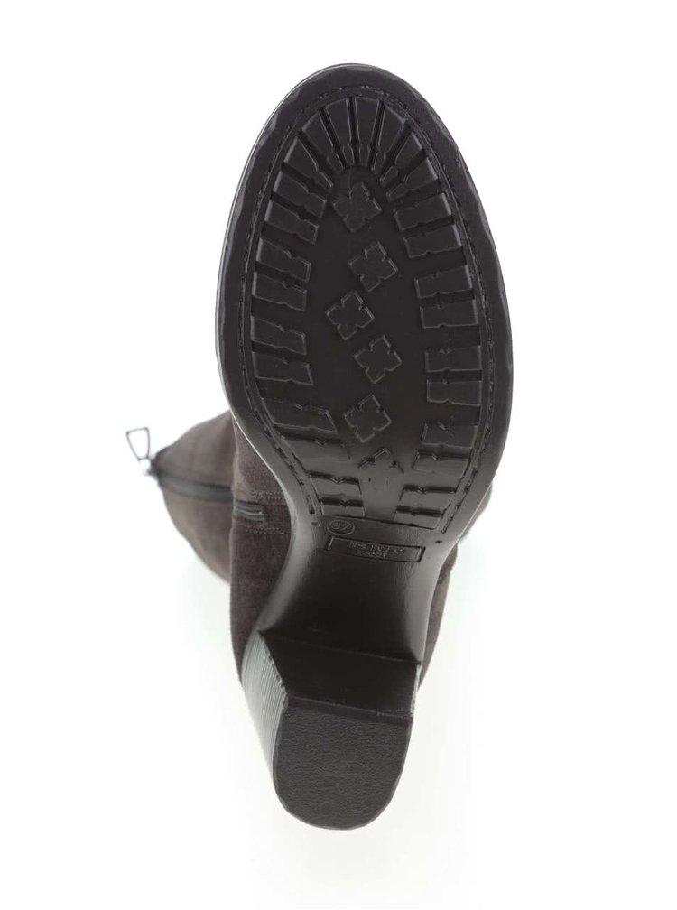 Tmavosivé semišové čižmy na podpätku U.S. Polo Assn. Oriana