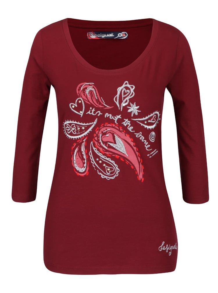 Bluza rosu Bordeaux cu maneci trei sferturi Desigual Natalie
