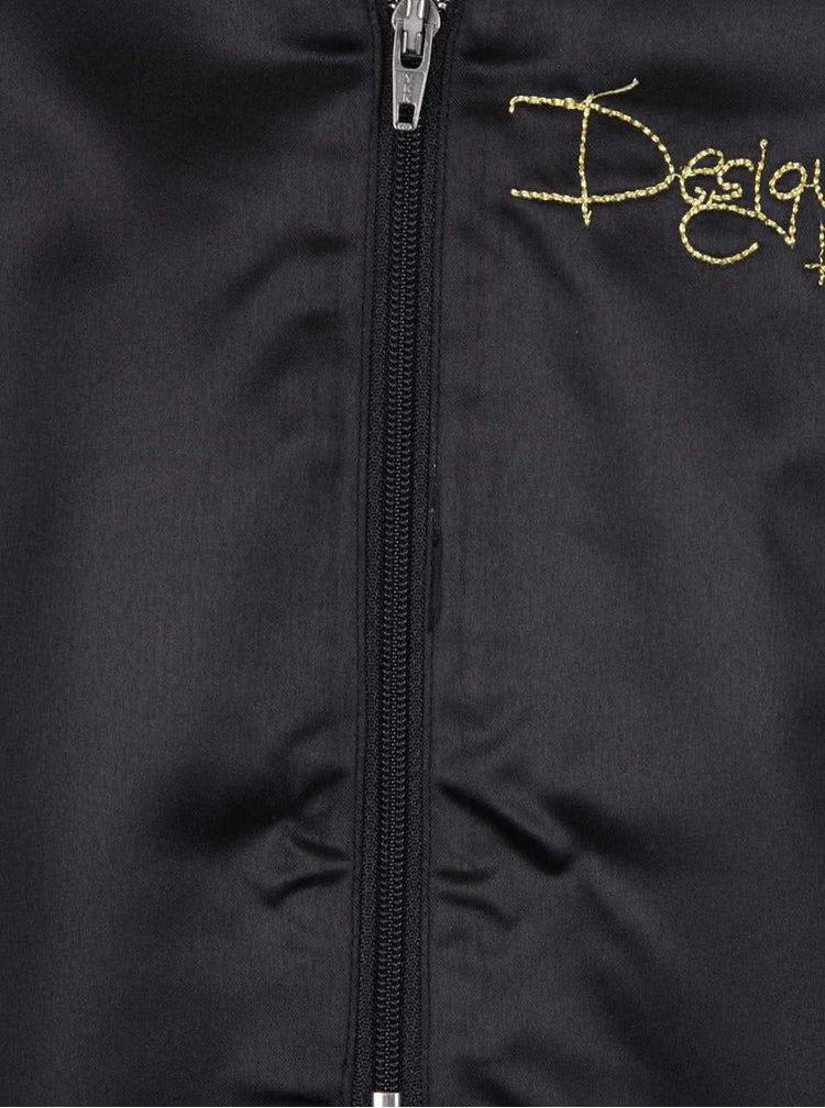 Černé šaty s potiskem a dlouhým průsvitným rukávem Desigual Regina