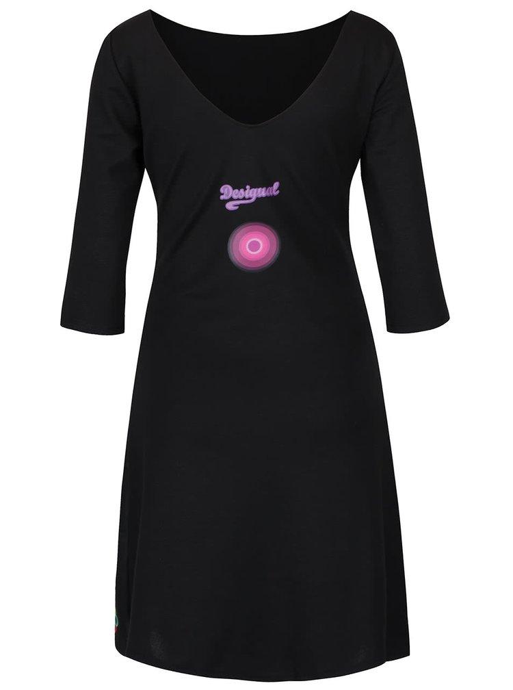 Čierne šaty s ornamentmi a 3/4 rukávom Desigual Marina A