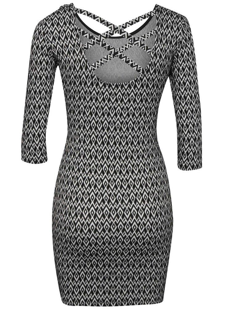 Bílo-černé vzorované šaty s 3/4 rukávem Tally Weijl
