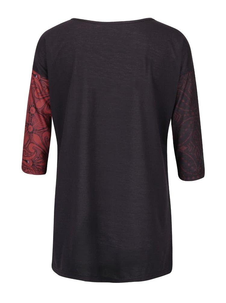Bluză maro închis cu imprimeu floral Desigual Tibetan