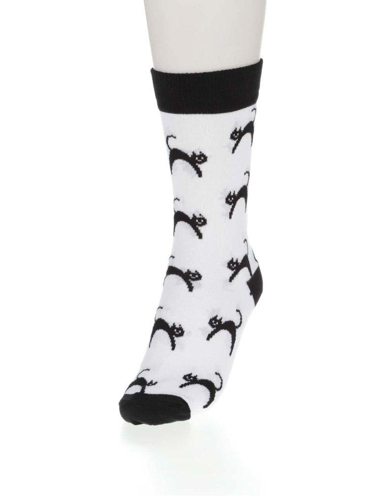 Bílé dámské ponožky ZOOT Originál Kočka