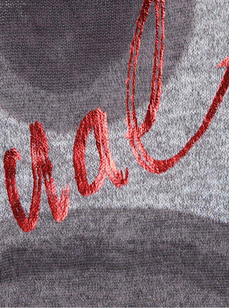 Šedé volnější tričko s ornamenty a 3/4 rukávy Desigual Tina