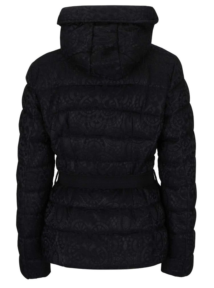 Černá prošívaná bunda s jemným vzorem Desigual Kristie