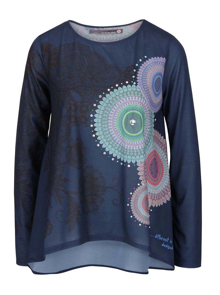 Modré tričko s kamínky a potiskem mandal Desigual Angela