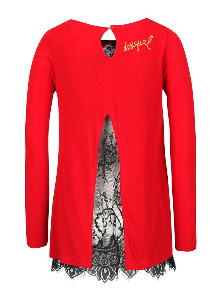 Červené tričko s krajkou a dlouhým rukávem Desigual Atenas