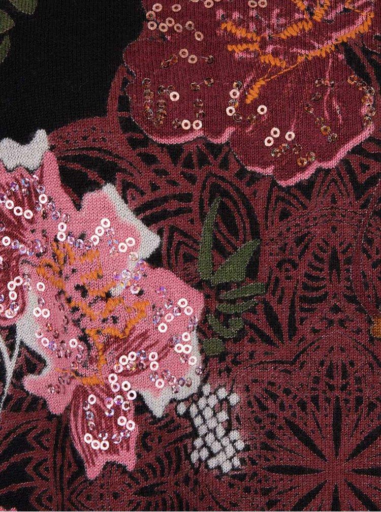 Pulover negru Desigual Clara cu imprimeu floral
