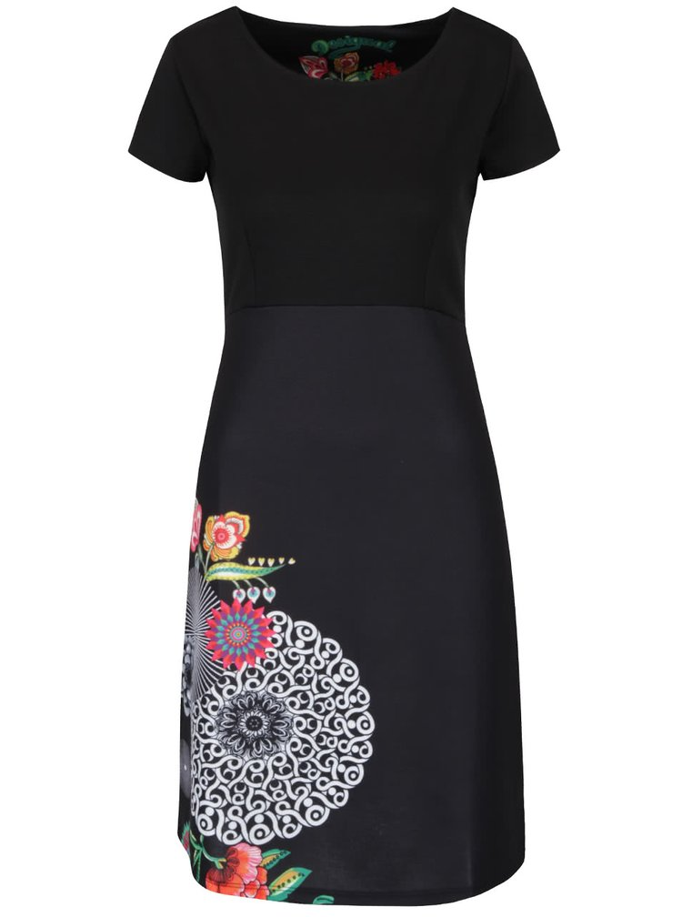 Černé šaty s ornamenty Desigual Martina