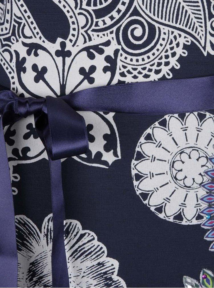 Béžovo-modré šaty s ornamenty a dlouhým rukávem Desigual Anais