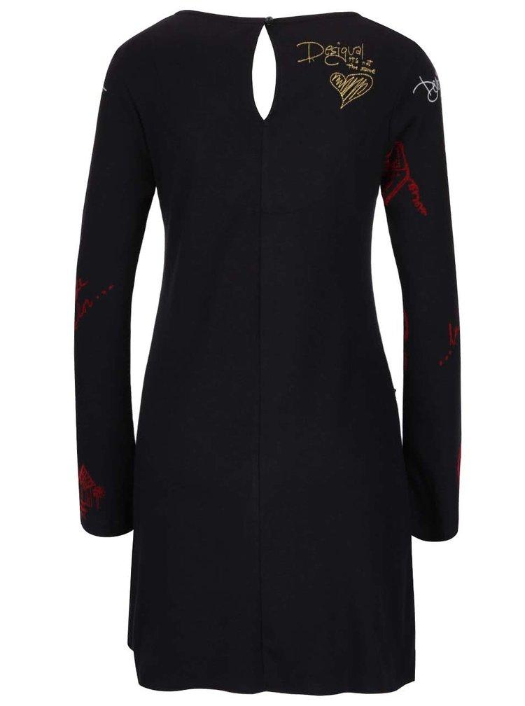 Černé šaty se potiskem a krajkovými detaily Desigual Sandy