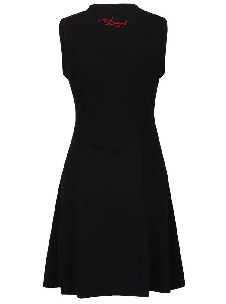 Šedo-černé šaty s kapsou a rozparkem Desigual Mimosa