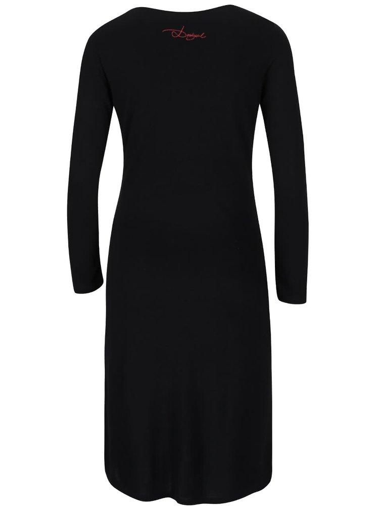 Čierne šaty s potlačou Desigual Castalia