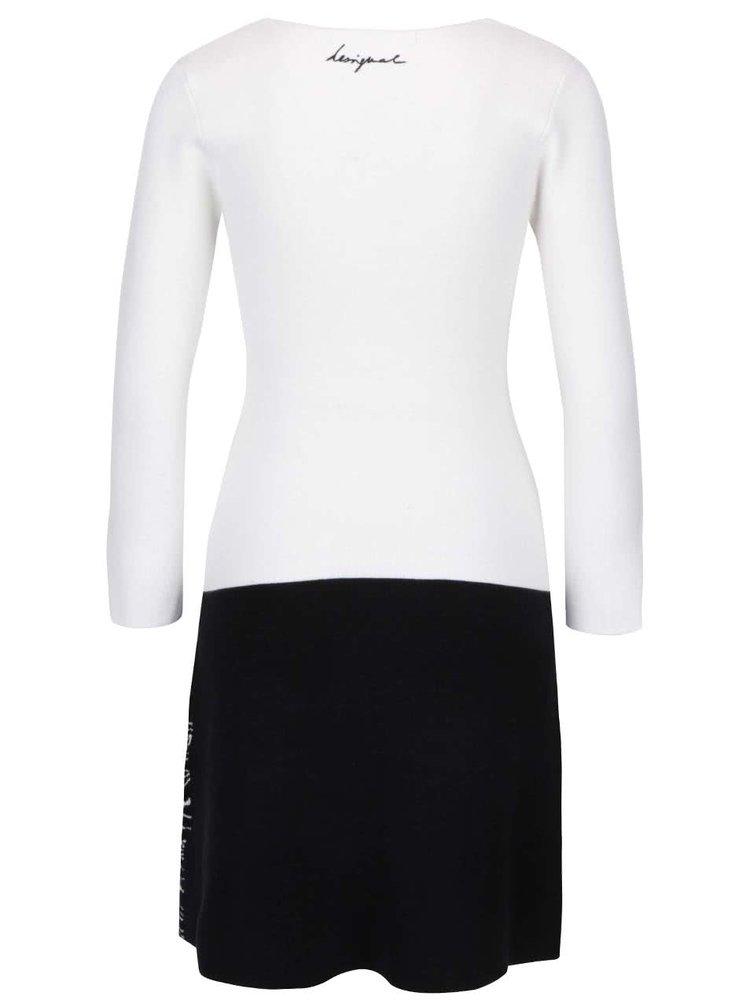 Černo-krémové svetrové šaty Desigual Charmian