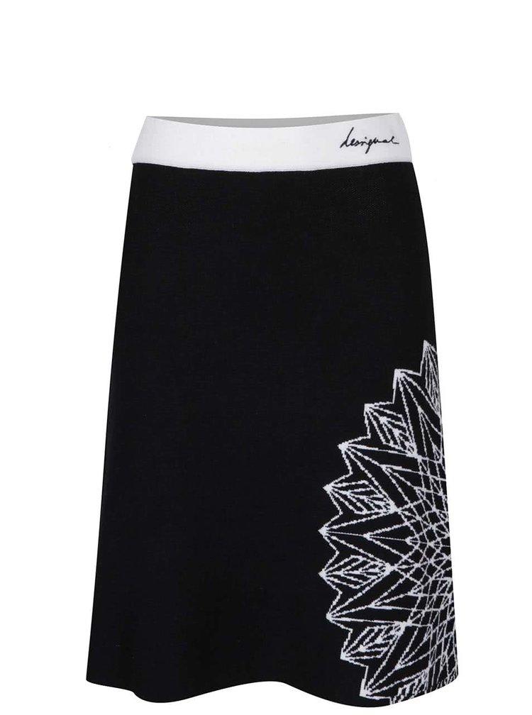 Krémovo-černá sukně s ornamentem Desigual Yesterday