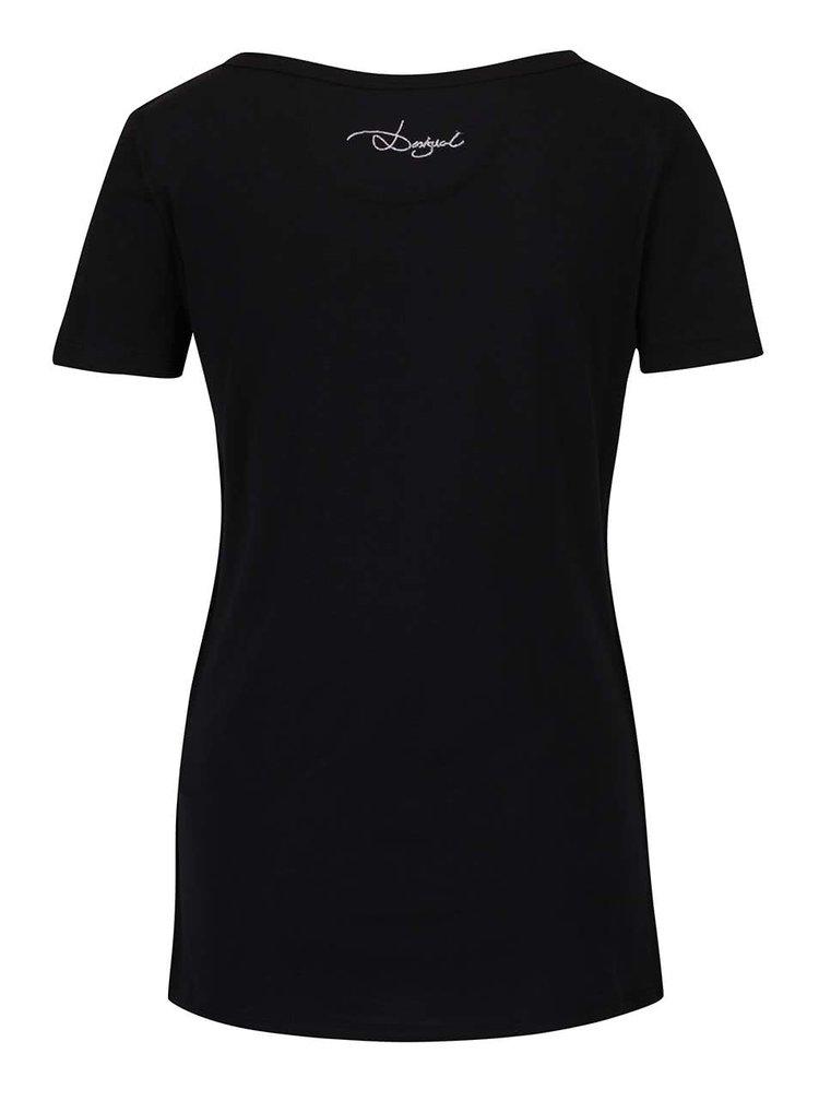 Černé tričko se srdcem Desigual Sylvia