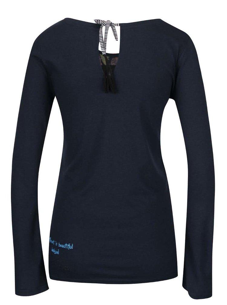 Tmavě modré tričko s barevným potiskem Desigual Ruth