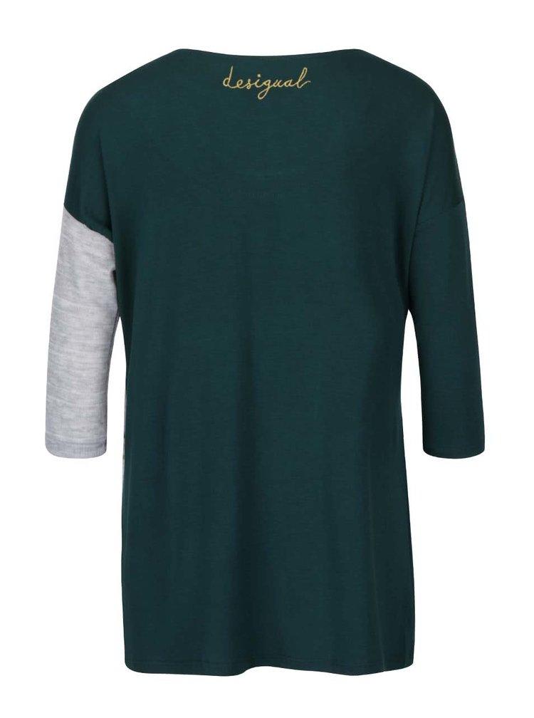 Bluza gri cu verde Desigual Loli in dungi