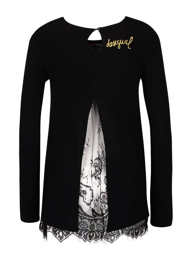 Čierne tričko s čipkou a dlhým rukávom Desigual Atenas