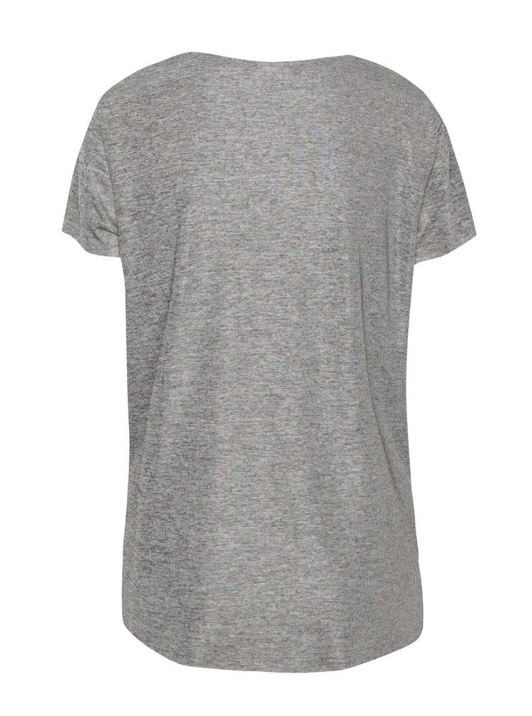 Šedé žíhané volnější tričko s černým lemem VILA Talon