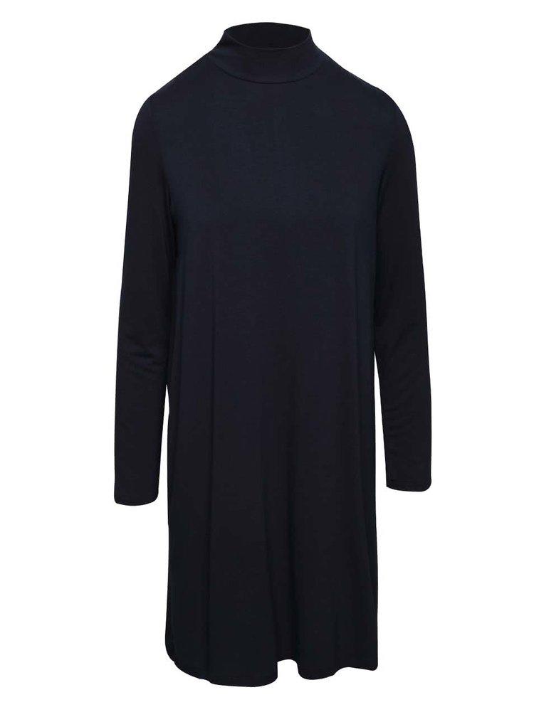Tmavomodré voľnejšie šaty s dlhým rukávom VILA Mile