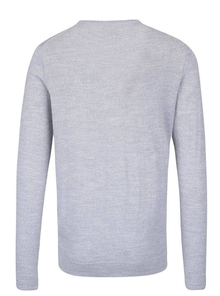Šedý lehký vlněný basic svetr s dlouhým rukávem Lindbergh